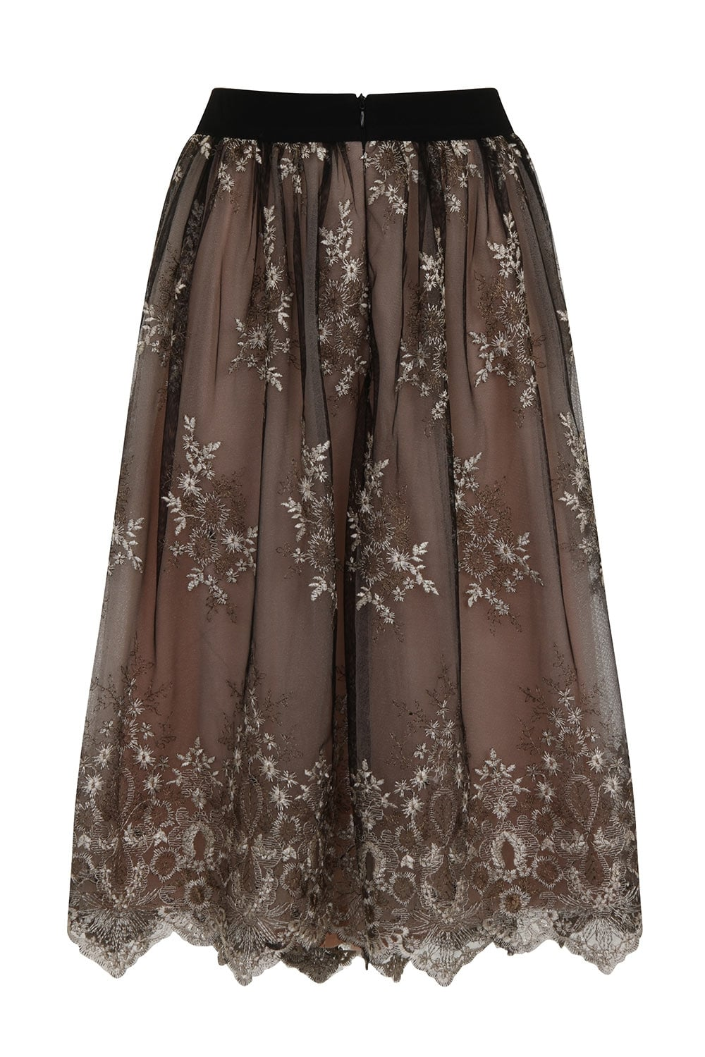 black and mocca lace overlay skirt