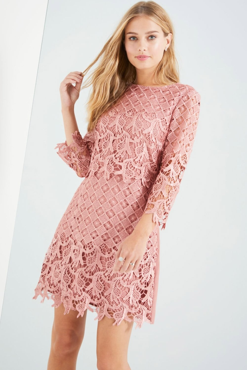 Little Mistress Apricot Crochet Shift Dress - Little Mistress from ...