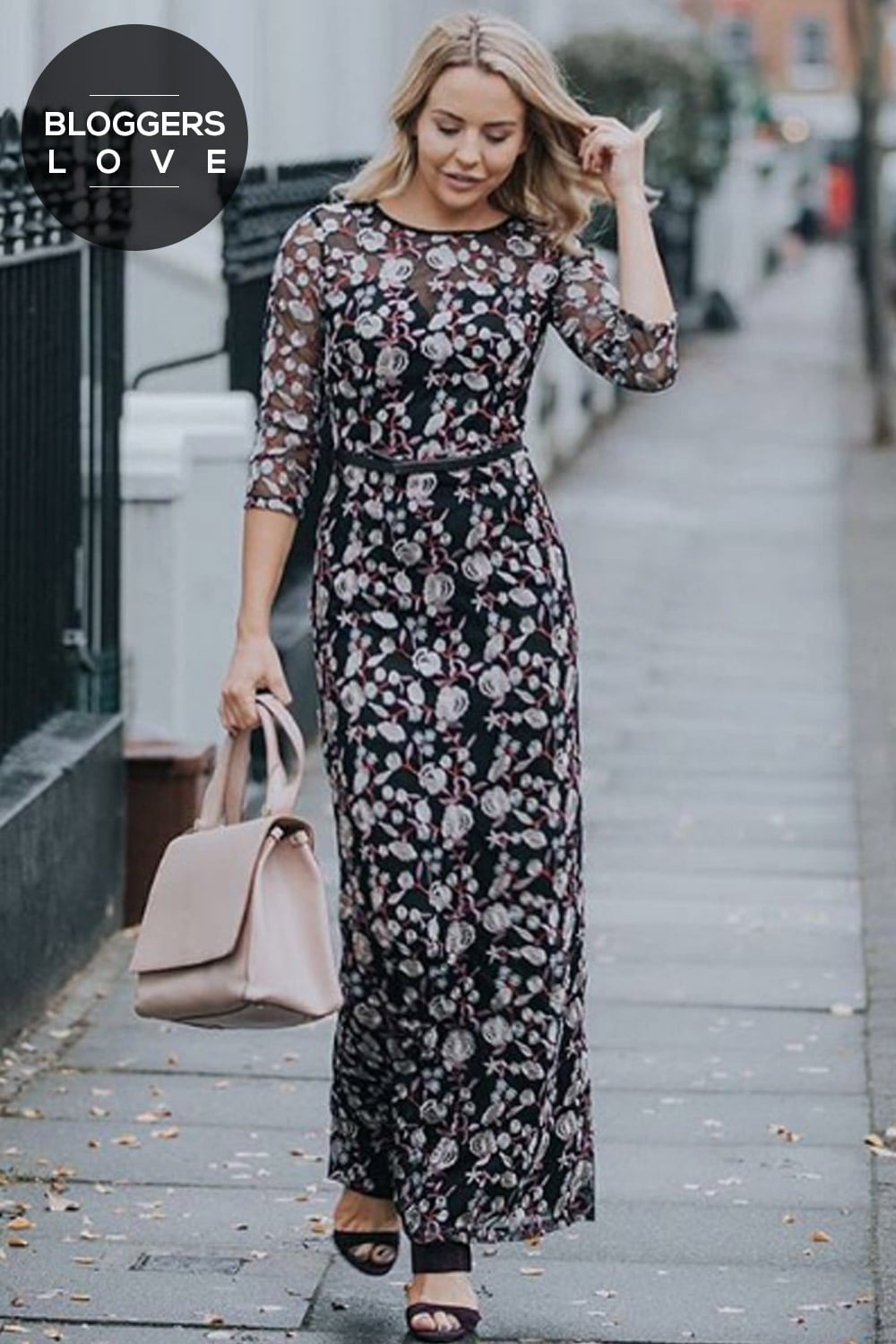Little Mistress Embroidered Floral Maxi Dress Little