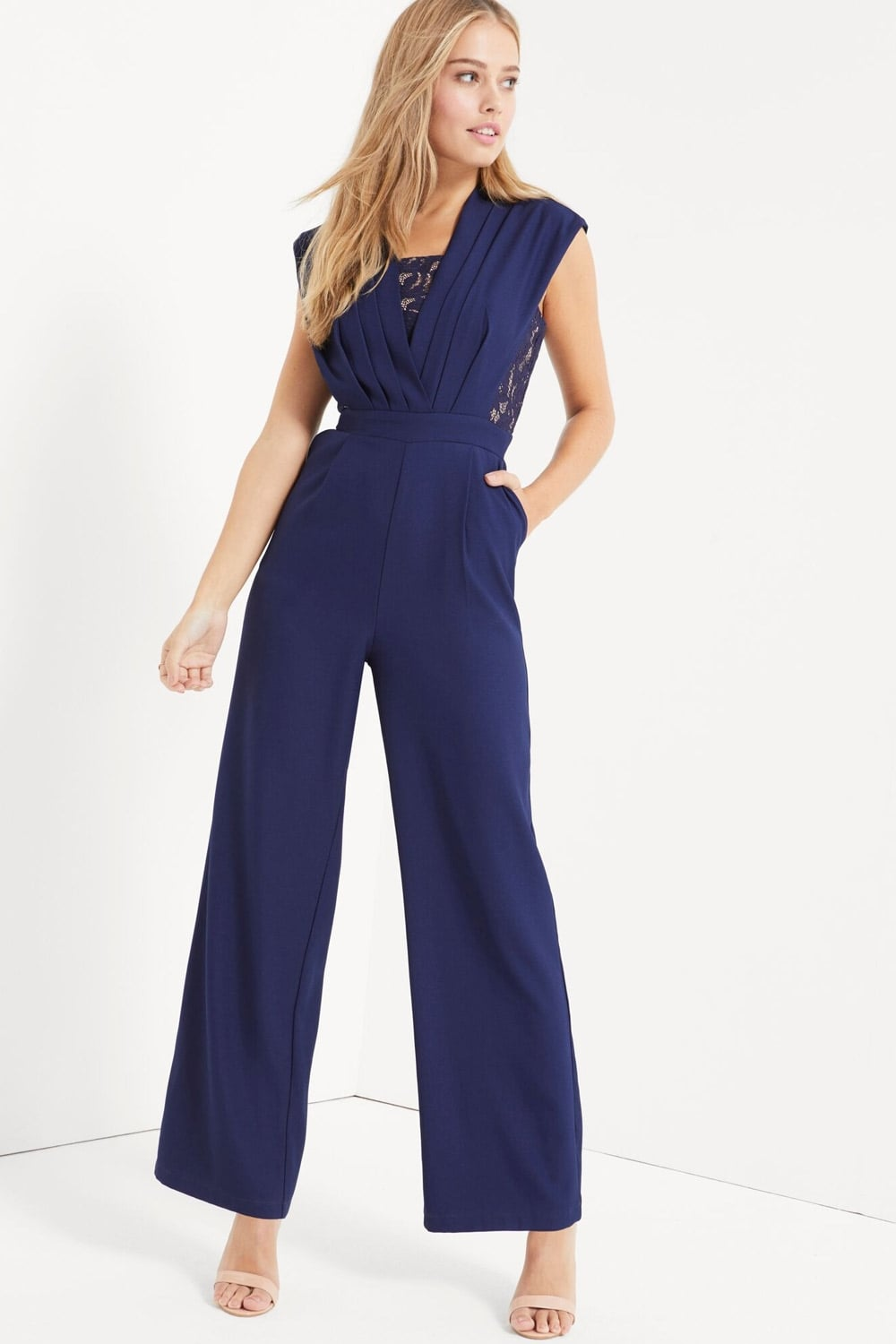 Navy Lace Plunge Kimono Sleeve Jumpsuit. Order today & shop it like it's hot at Missguided. A jumpsuit in a navy finish with lace detail, plunge neckline and kimono sleeves.