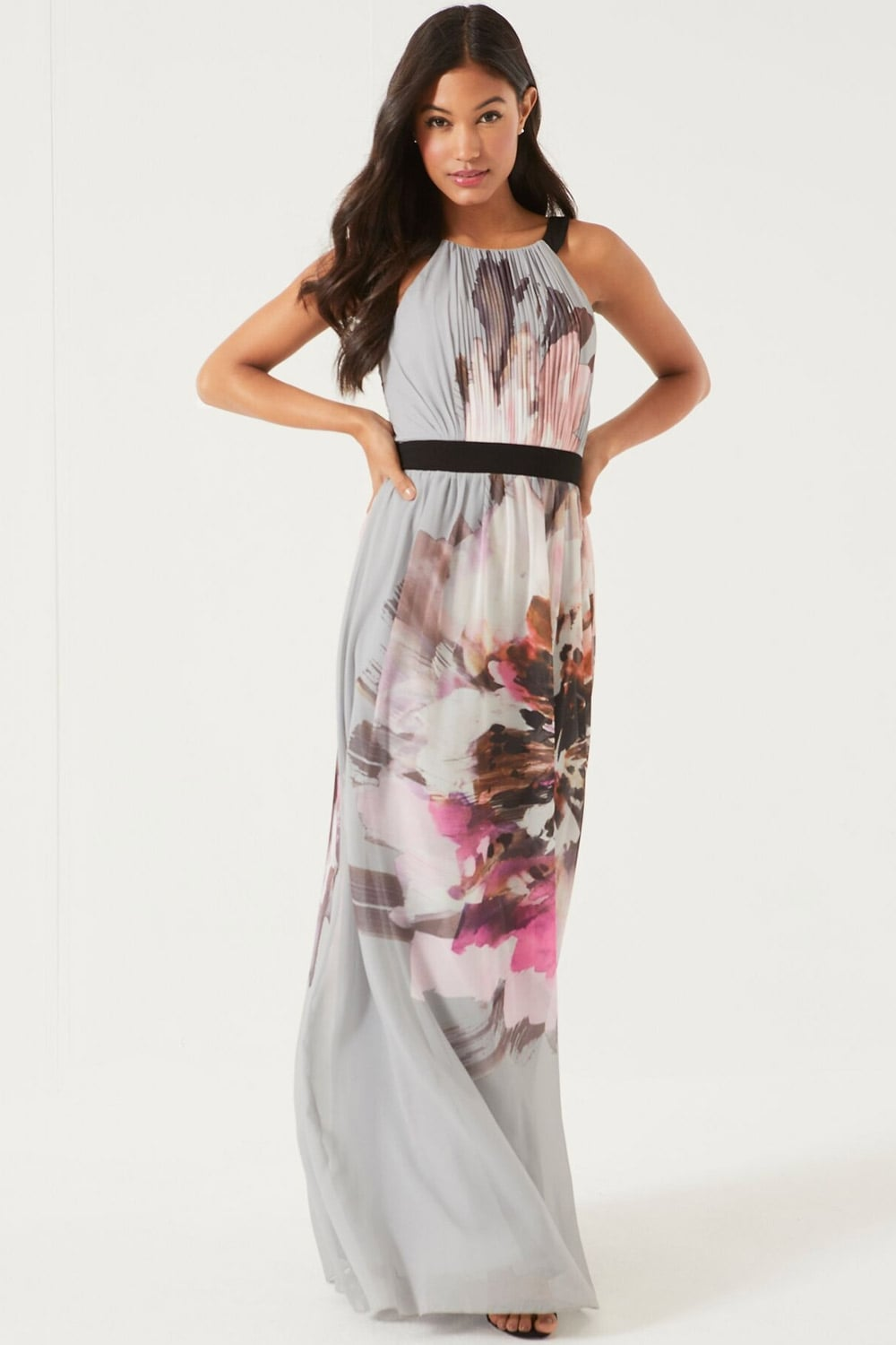 Floral Placement Printed Maxi Dress From Little Mistress Uk