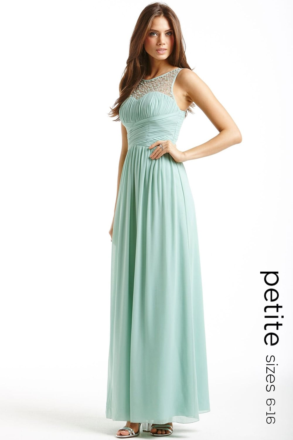 4f527b748ac Petite Sage Little Mistress Petite Embellished Mesh Maxi Dress ...