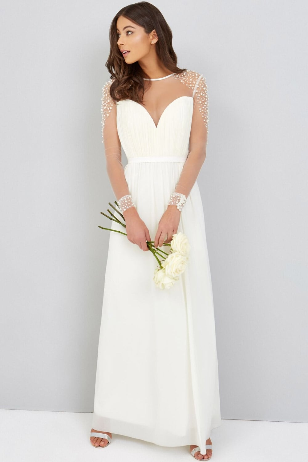 Little Mistress Pearl Chiffon Wedding Dress Little