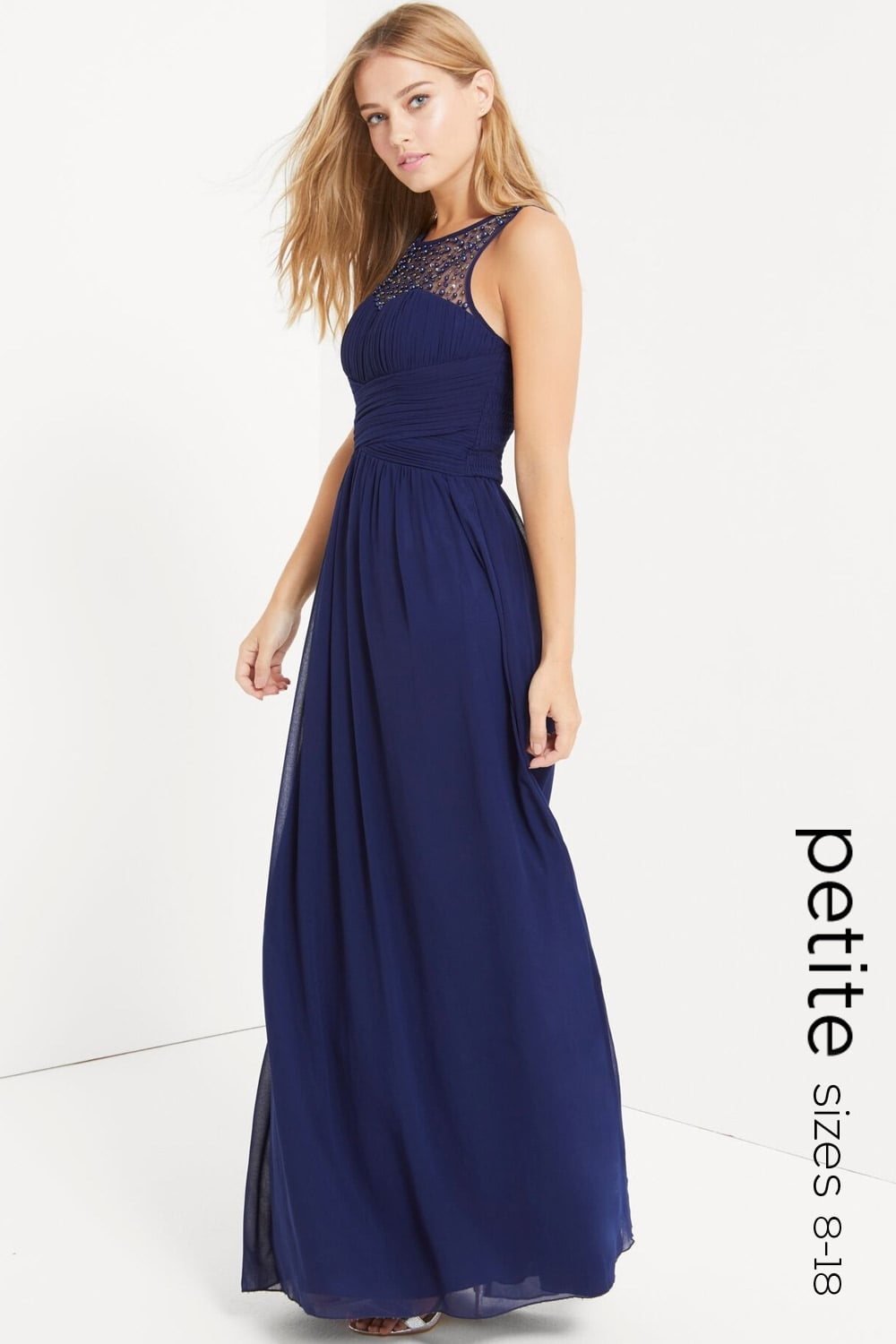 Petite Navy Petite Embellished Maxi Dress Petite From