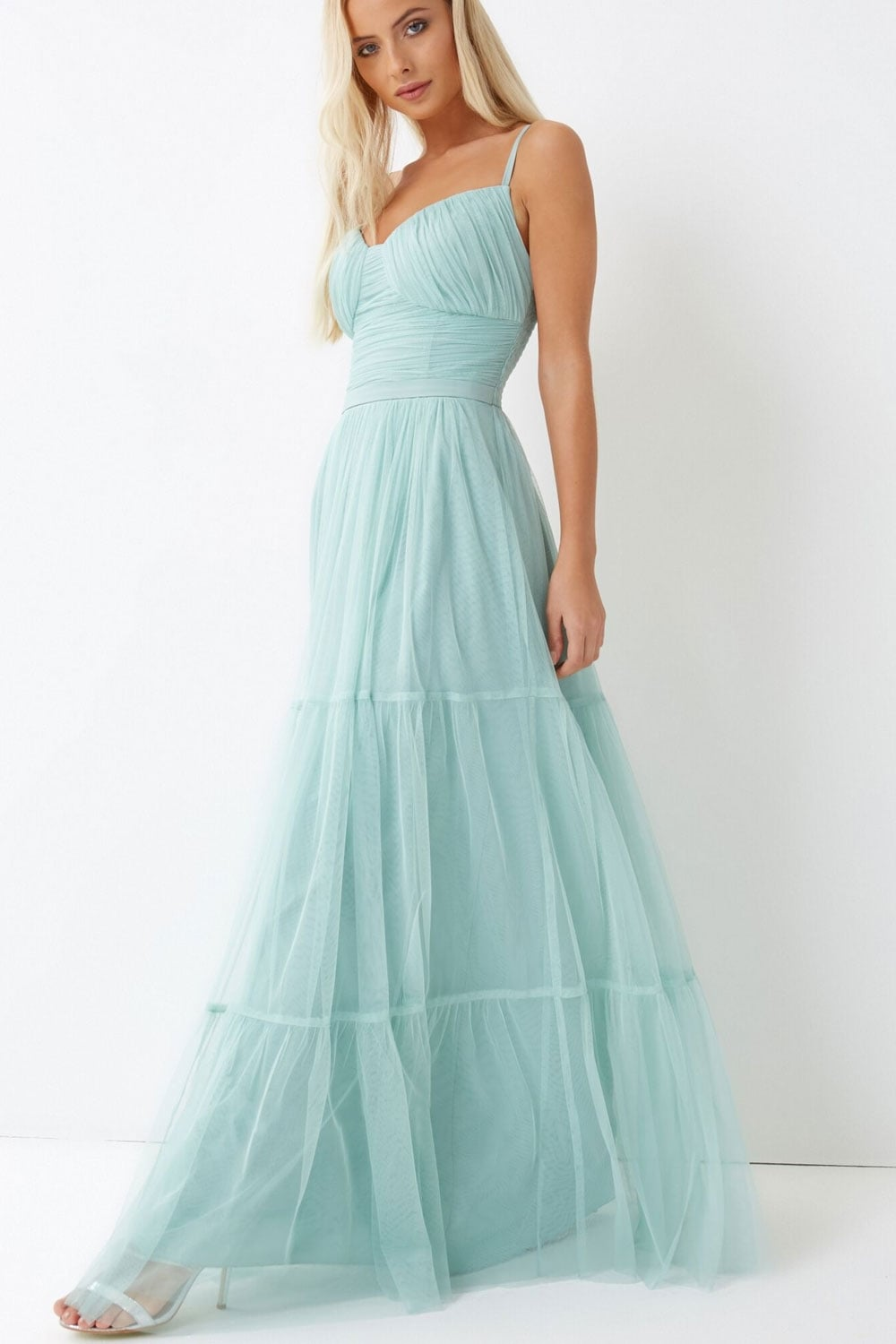 Green Tulle Maxi Dress From Little Mistress Uk