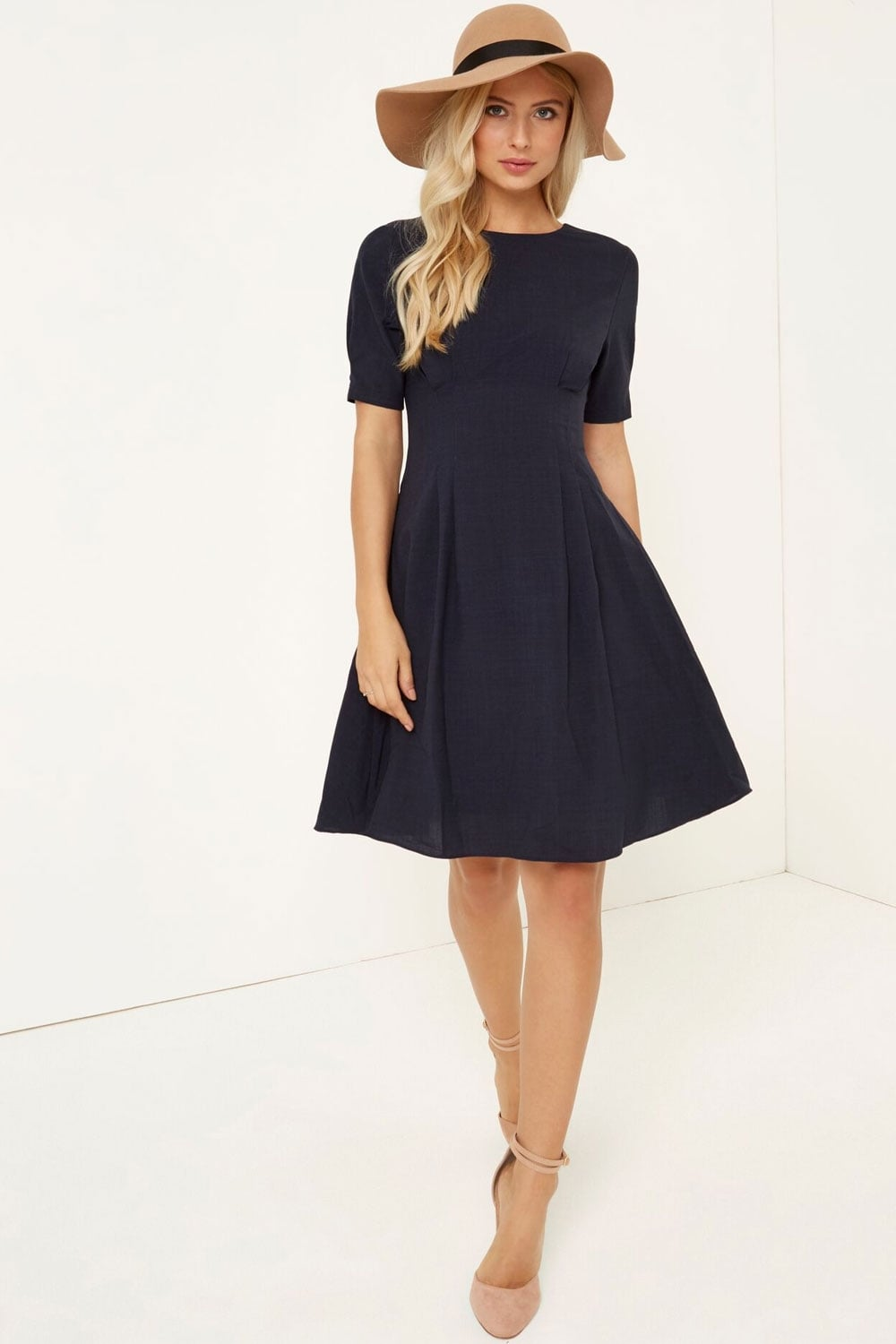 Little Mistress Navy Fit And Flare Midi Dress Little
