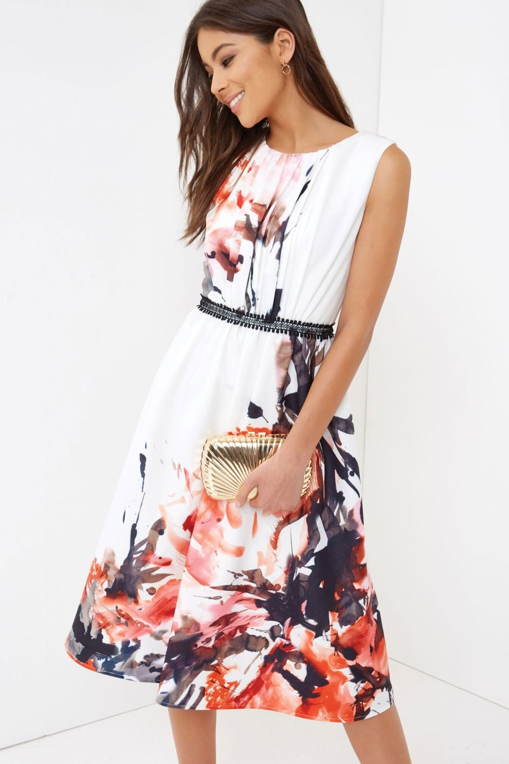 Ink Print Midi Dress From Little Mistress Uk