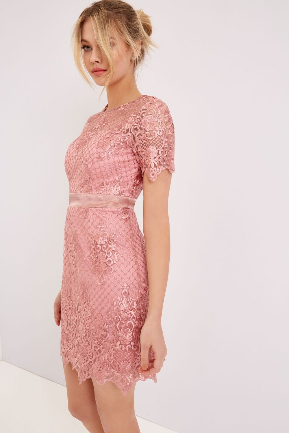 22db220c209 Outlet Girls On Film Pink Lace Mini Dress - Outlet Girls On Film ...