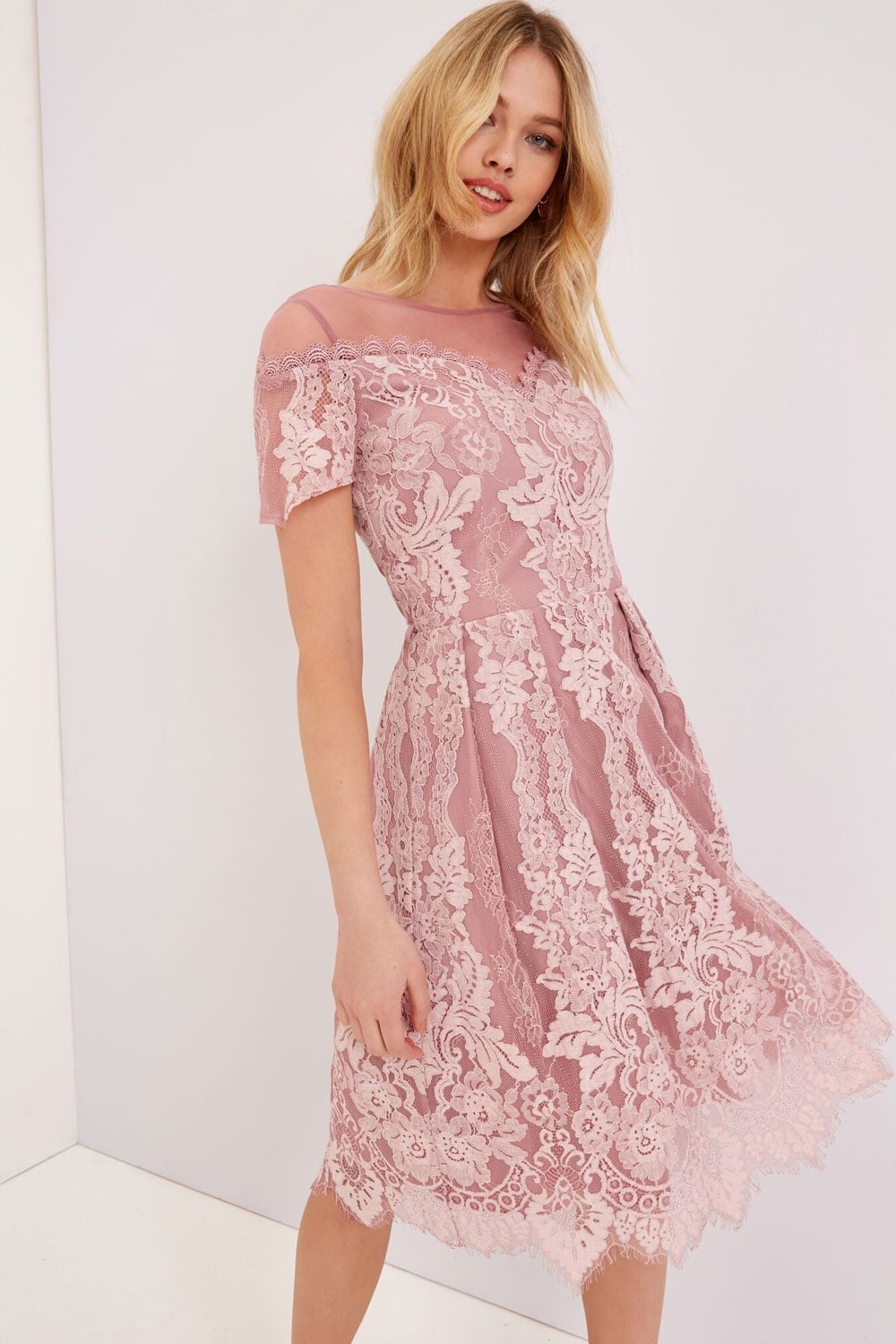 Dusty pink lace dress from little mistress uk Pink fashion and style pink dress