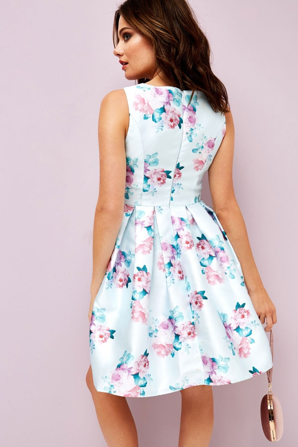 Girls on Film Pale Blue Floral Skater Dress - Girls On Film from ... 8eefd9bf0