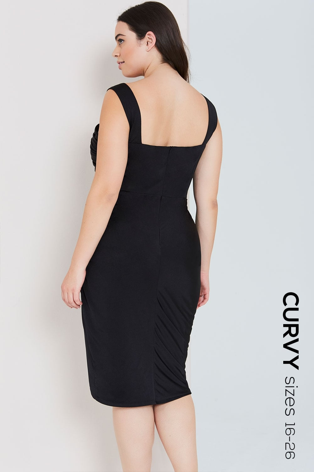 Black Ruched Midi Dress With Embellished Waist From