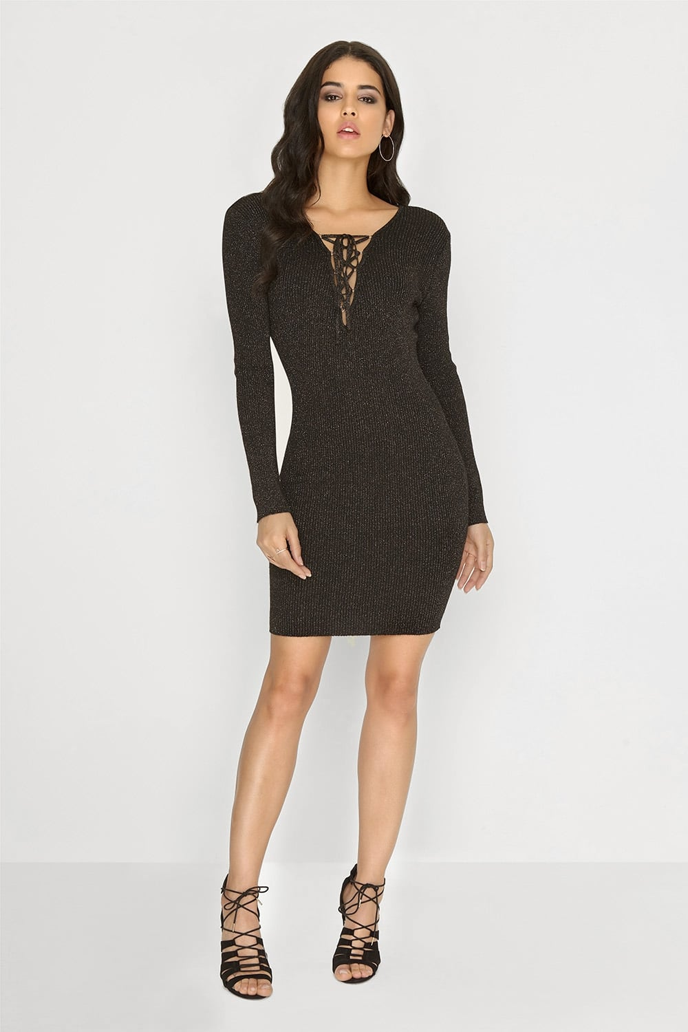 24347fb9ca5a Outlet Girls On Film Black Knitted Lurex Dress - Outlet Girls On Film from  Little Mistress UK