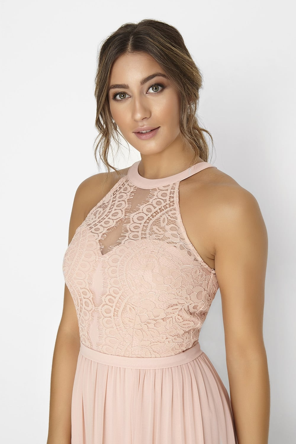 Salmon Pink Lace Dress - from Little Mistress UK