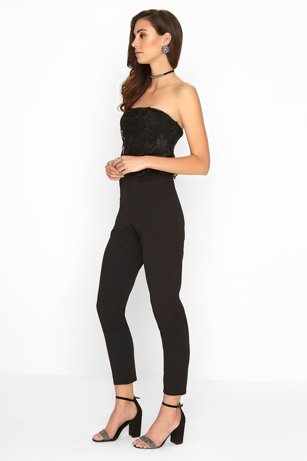 2af728ea6bf Outrageous Fortune Black Lace Jumpsuit - Outrageous Fortune from Little  Mistress UK