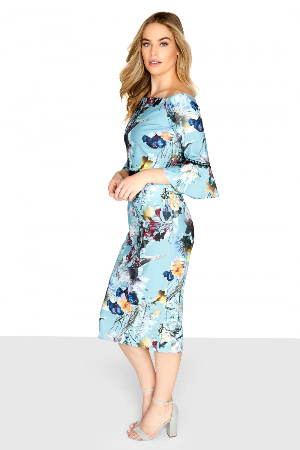 tibby floral midi bodycon dress from little mistress uk