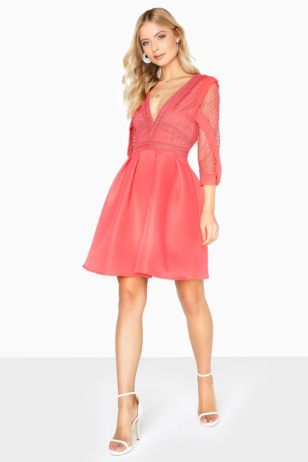 Little Mistress Coral Skater Dress Little Mistress From