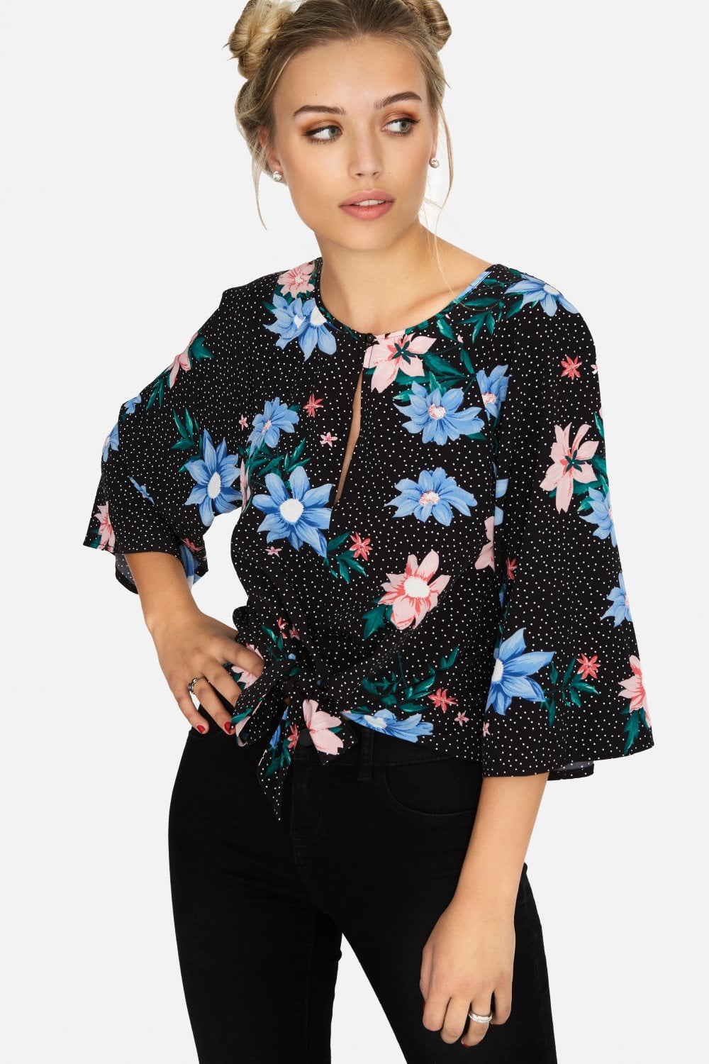 f93abbabaa4222 Outlet Girls On Film Lio Floral Spot Tie Blouse
