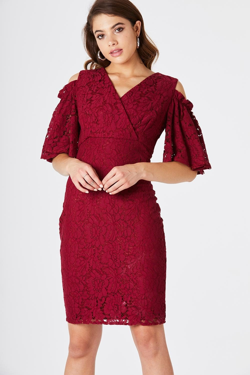 4c185a15d0 Outlet Girls On Film Elixir Lace Cold Shoulder Dress - Outlet Girls On Film  from Little Mistress UK