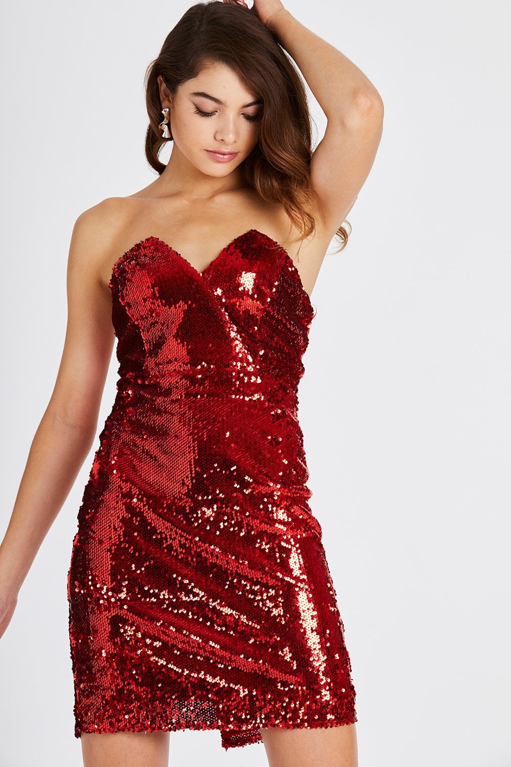 ac7d2dd86260 Girls on Film Bellerose Red Sequin Bodycon Dress - Girls On Film from  Little Mistress UK