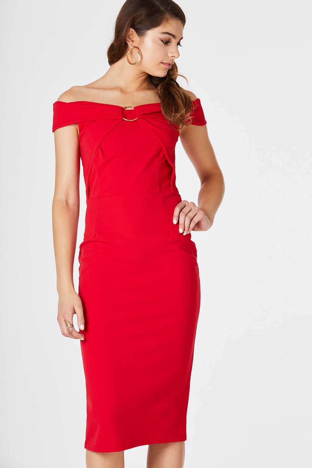 5bbc73fc5fd Outlet Girls On Film Cosmo Red Bardot Midi Dress - Outlet Girls On Film  from Little Mistress UK
