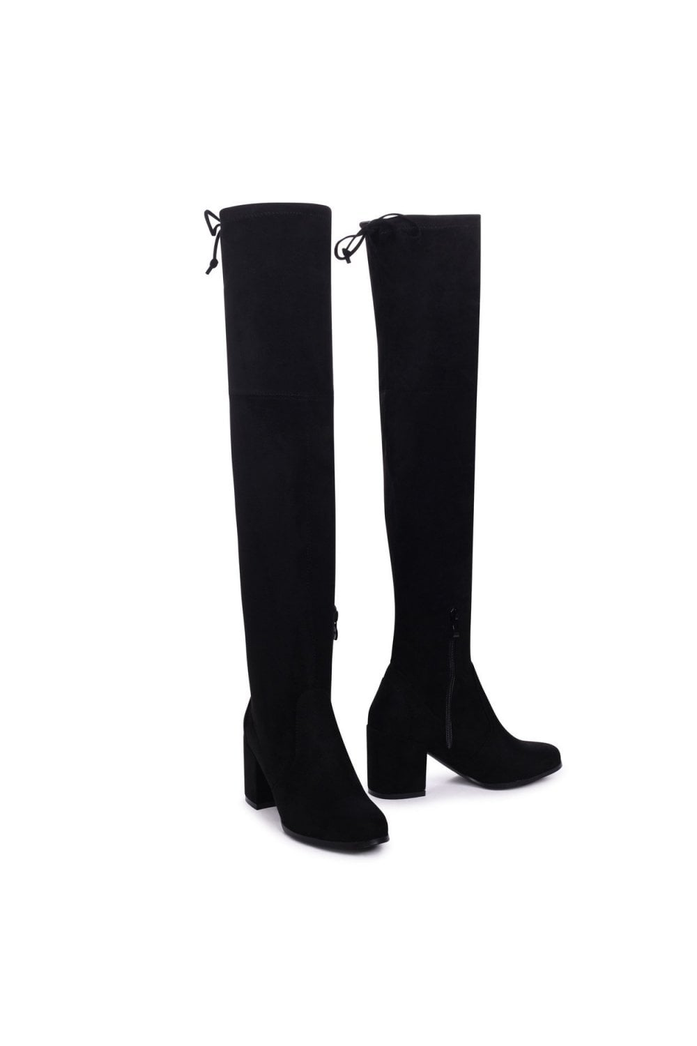 d479a1bcd99 ... Linzi Amber Black Suede Block Heeled Over The Knee Boots with Tie Up  Back ...