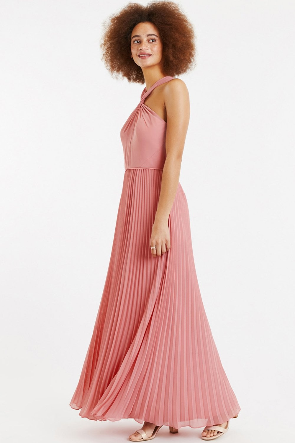 181f156776 Oasis Pale Pink Twist-Neck Chiffon Pleated Maxi Dress - Oasis from ...