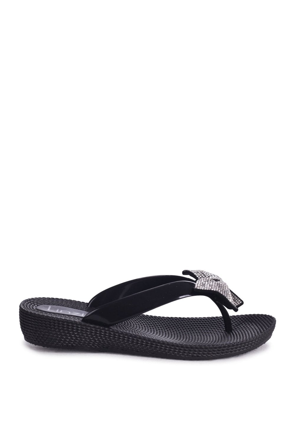 9b294792c Linzi Terri Black Wedged Jelly Flip Flops With Diamante Bow - Linzi ...