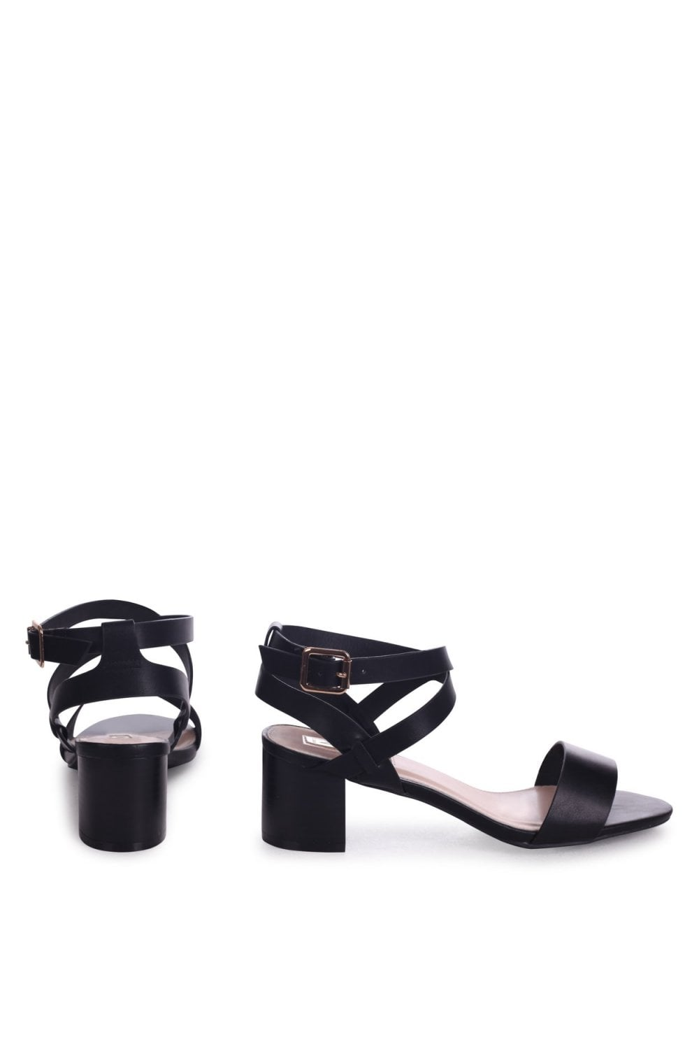 6de93653133 Linzi SERENA - Black Nappa Stacked Block Heel Sandal With Crossover Ankle  Straps - Linzi from Little Mistress UK
