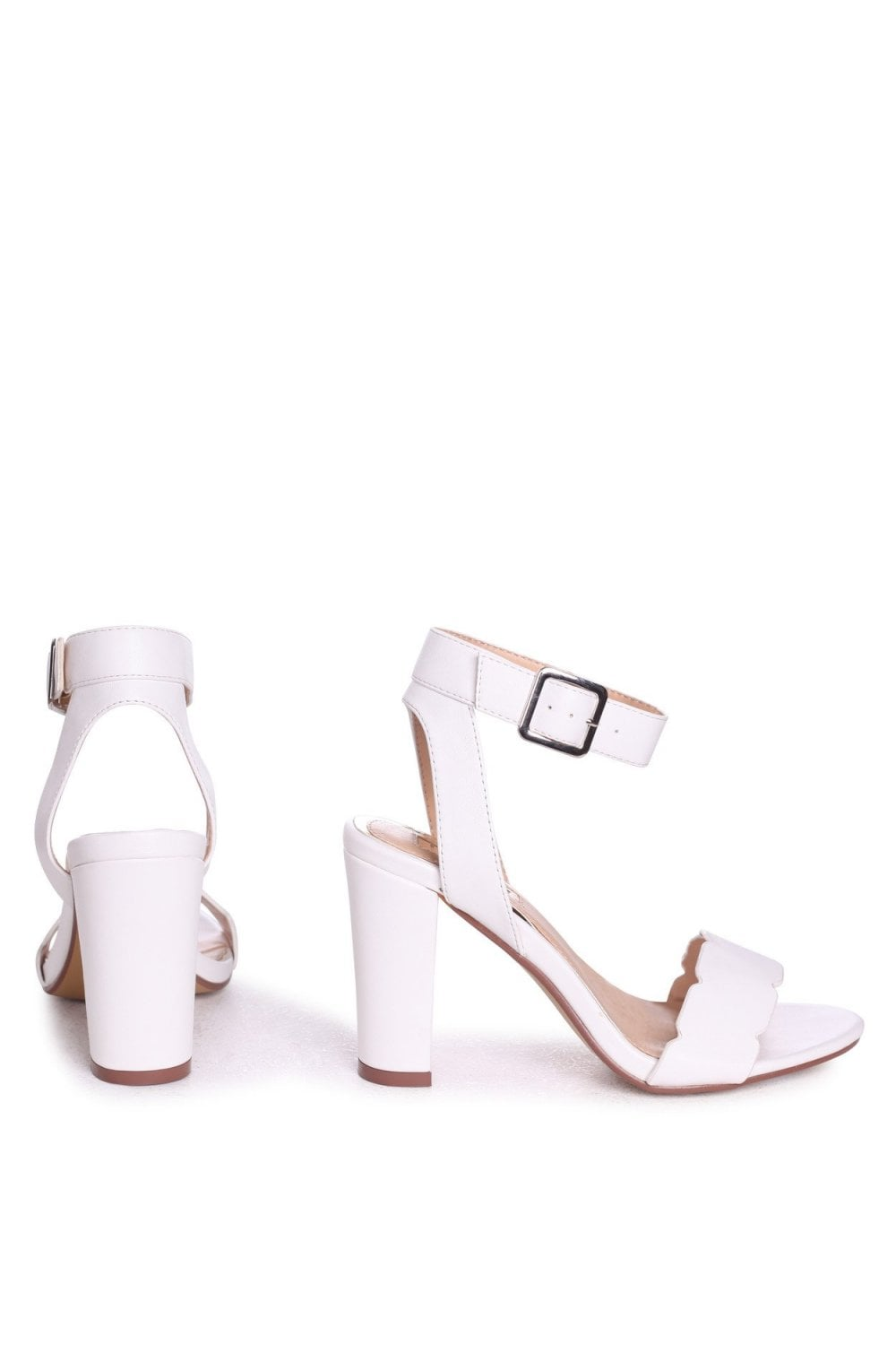 280a70c0f91d Linzi Darla White Nappa Open Toe Block Heels With Ankle Strap Wavey Front  Strap Detail ...