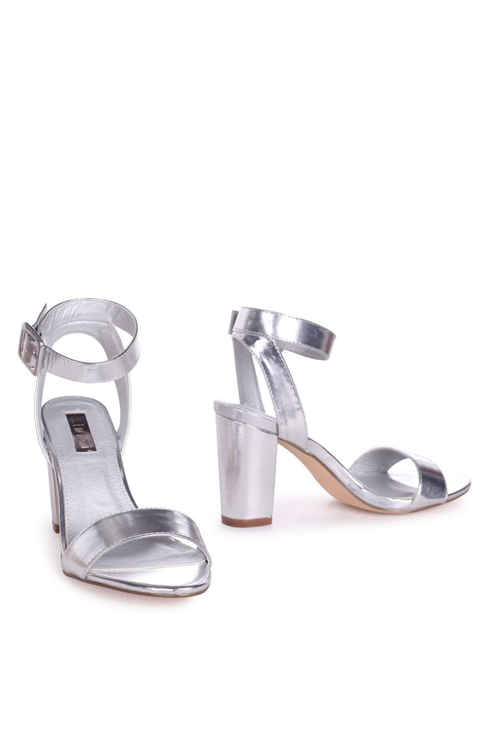 c01e1c01c50 Linzi Millie Silver Metallic Open Toe Block Heels With Ankle Strap And Buckle  Detail - Linzi from Little Mistress UK