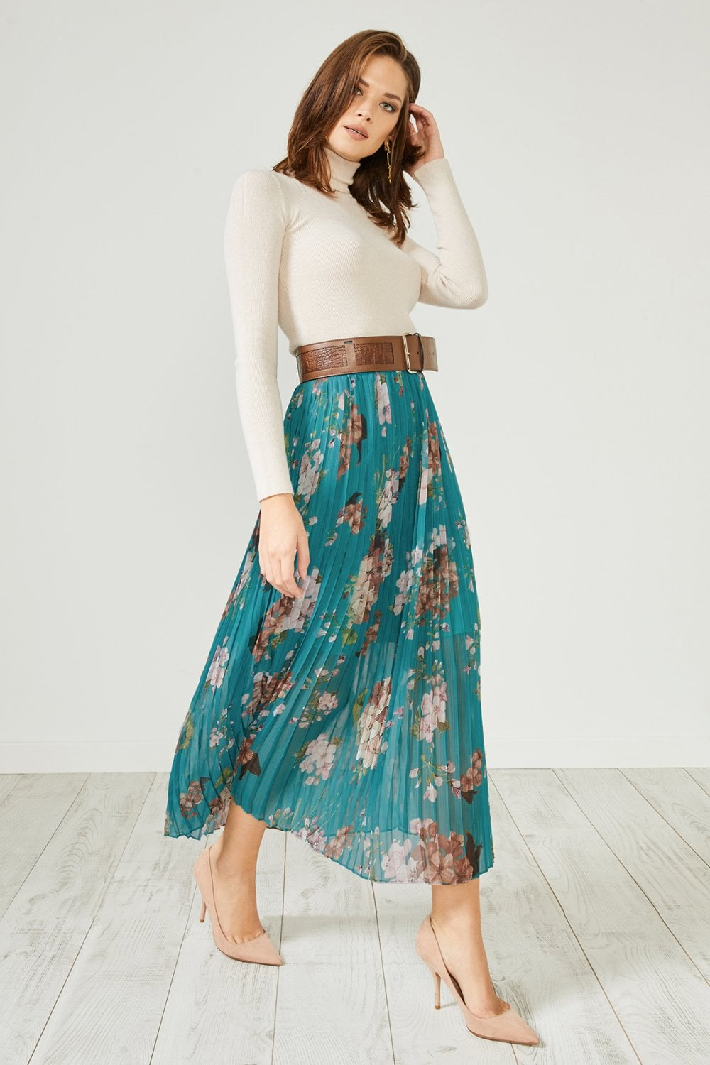 86f491efe Urban Touch Green Floral Pleated Midi Skirt - Urban Touch from Little  Mistress UK