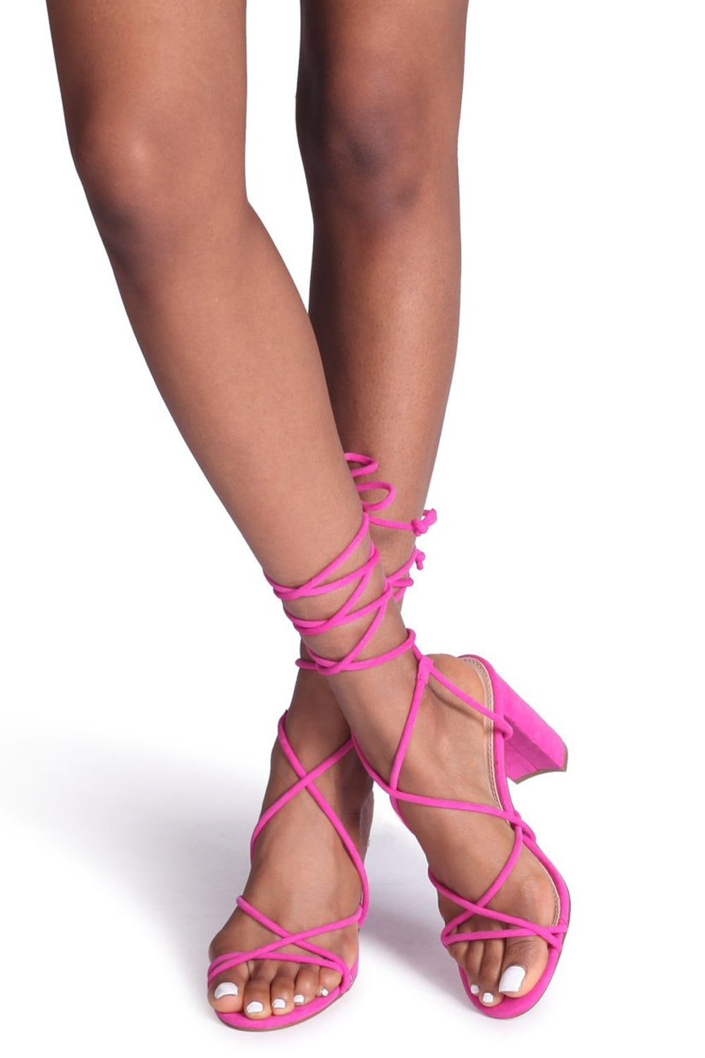 f50cc081f0 Linzi Twist Hot Pink Suede Lace Up Strappy Block Heeled Sandals - Linzi  from Little Mistress UK