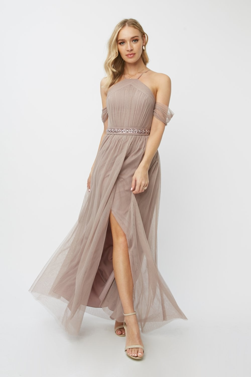 Little Mistress Bridesmaid Leonora Oyster Embellished Belted Maxi