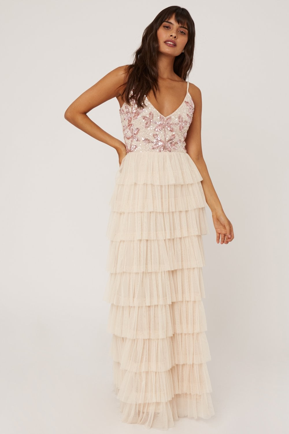 Little Mistress Ruth Nude Floral Sequin Embellished Maxi