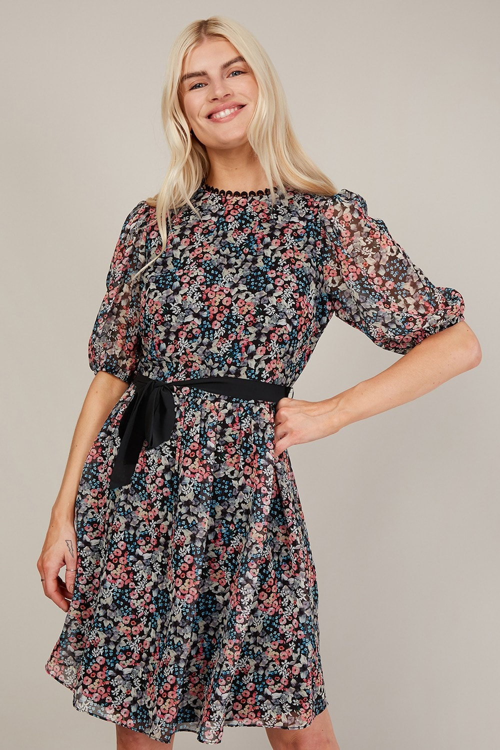 Trendyol Check Puff Sleeve Wrap Dress - Clothing from